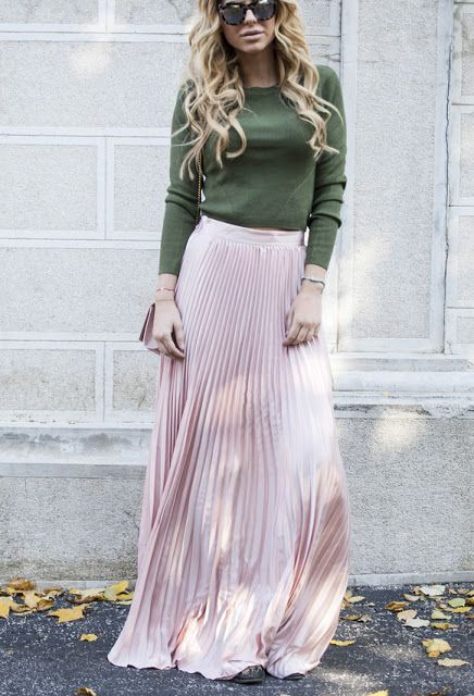 Pink Pleated tulle Maxi Skirt, long-sleeve olive top, chestlength blonde hair, & metallic eyeshades