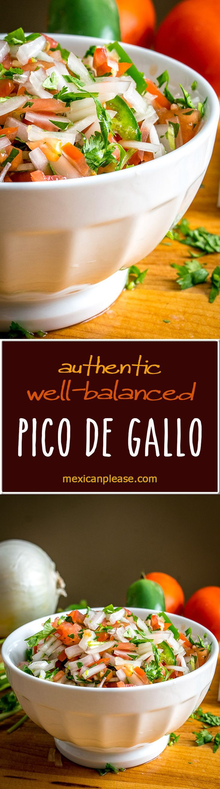 Five ingredients is all it takes to make a classic, authentic Pico de Gallo. This recipe keeps the tomatoes in check by using plenty of onion and seasoning. So good! mexicanplease.com