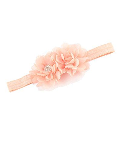 a0078389a47 Baby Girl Hairband With Two Chiffon Flowers One Shiny Rhinestone Button  Headband JA66 (Peach)