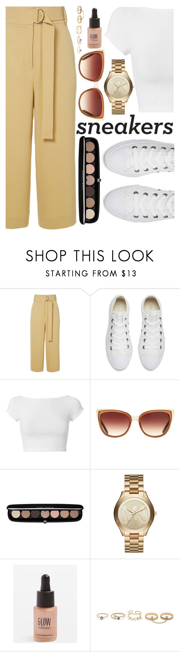 """""""white sneakers"""" by lovedreamfashion ❤ liked on Polyvore featuring TIBI, Converse, Helmut Lang, Barton Perreira, Marc Jacobs, Michael Kors, Topshop, LULUS, white and sneakers"""