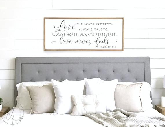 Scripture Bedroom Sign Love Never Fails Sign Master Etsy In 2020 Master Bedroom Wall Decor Wall Decor Master Wall Decor Bedroom