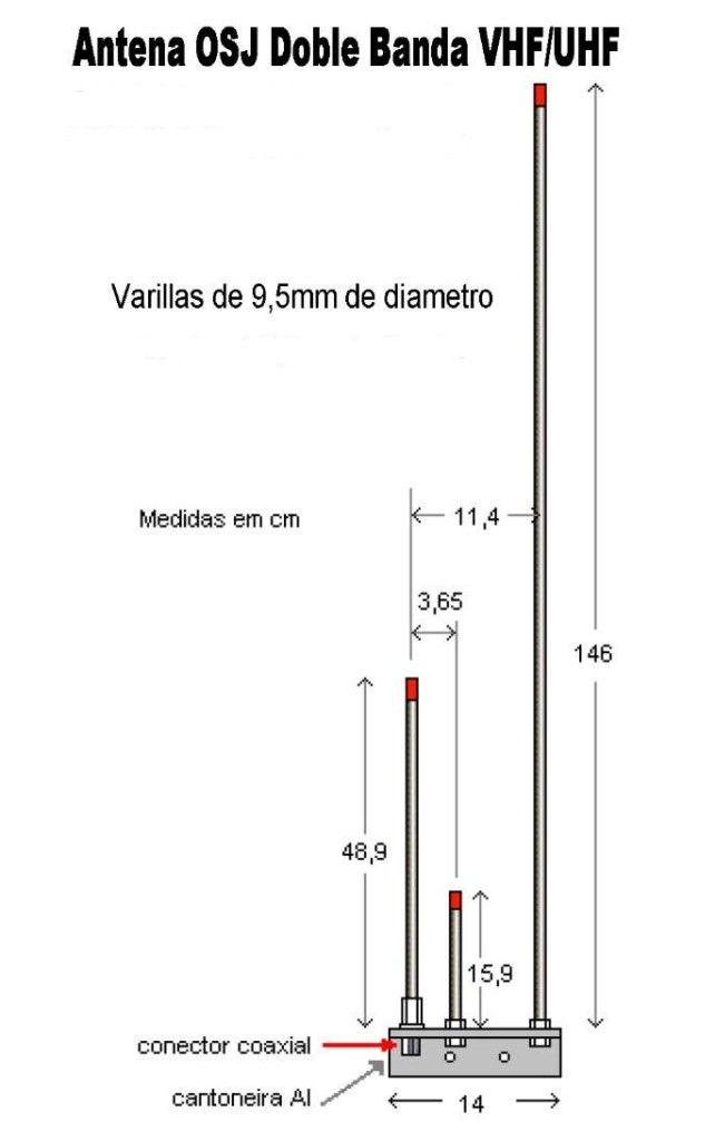 Antena OSJ bibanda VHF/UHF