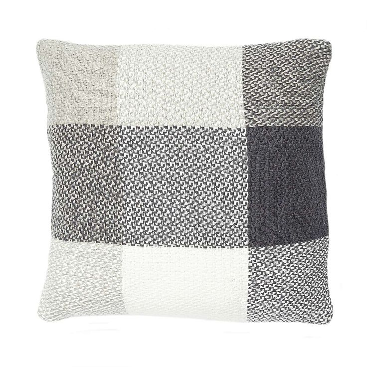 Grey Cotton Woven Check Cushion | Dunelm