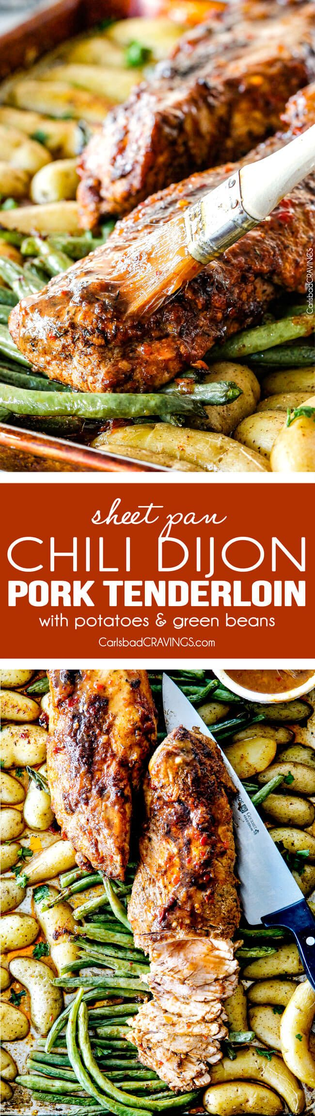 Sheet Pan Chili Dijon Pork Tenderloin with Green Beans and Potatoes all baked on ONE PAN! This is the most tender pork I have ever had and the tangy sweet and spicy flavors are out of this world!  via @carlsbadcraving