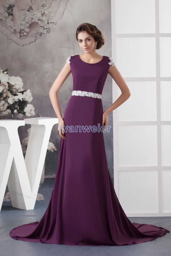 brides maid dresses 2013 new design appliques cap sleeve women's formal with train evening gown long evening dress