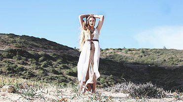bohemian vest kimono beach cover leather belt pompom boho chic ibiza summer blue sky hippie wild indie folk style blonde girl women fashion coachella