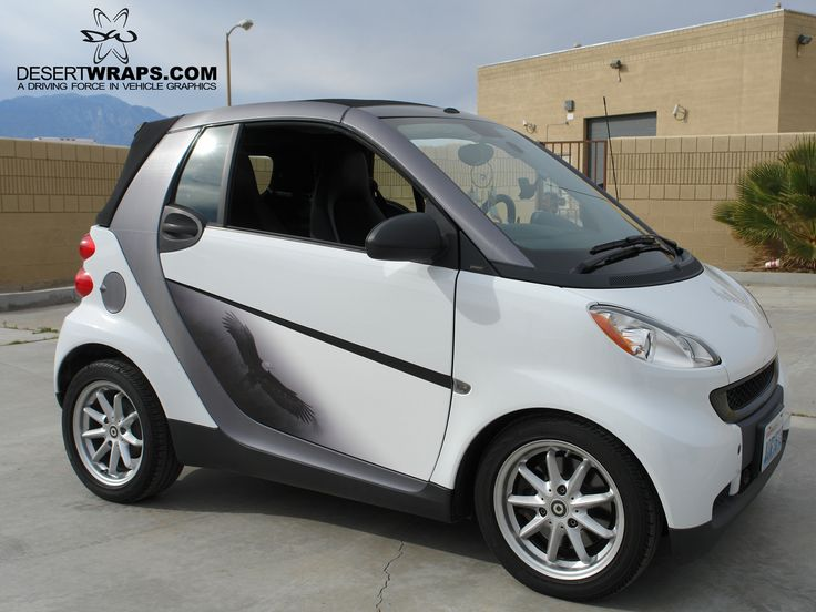 Smart car wrap installed by DesertWraps.com in Palm Desert, CA. We cover Palm Springs, Desert Hot Springs, Yucca Valley, Cathedral City, Palm Desert, La Quinta. 760-935-3600 #SmartCar #Design #Eagle