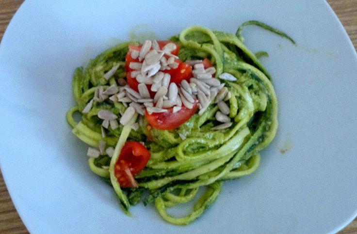 """""""Spaghetti al pesto"""" made from zucchini and rucola. :)"""