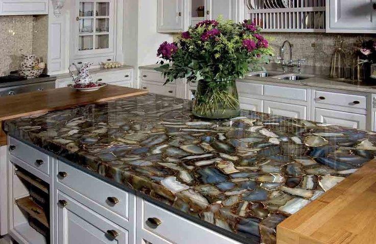 This stone mosaic countertop is composed of quartz Manufactured quartz countertops cost