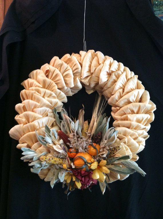 Autumn Corn Husk Wreath by MariesCornHuskDolls on Etsy