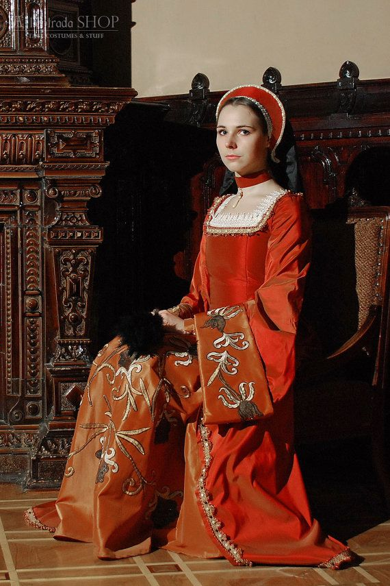 """Historical Renaissance dress Anna Boleyn style. Early 16th century english court dress.Dress made in Anna Boleyn style with big sleeves called """"swan sleeves"""" and big cuffs. Material - taffeta with applique, decorated with braid and beads. On the back decorated with lace that make imitation of shirt under the dress. Dress has under skirt that sewn with dress. Clasp """"cord"""" on the back."""
