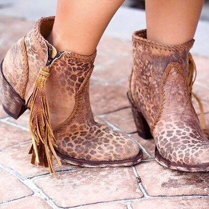 These pretty little Old Gringo 'Adela' Ochre Leopardito ankle boots are so…