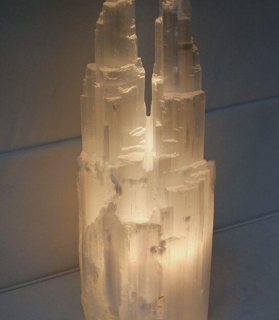 Selenite Twin Tower Lamp 40cm