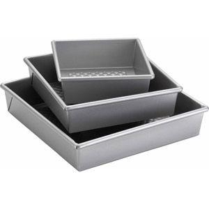 """Cake Boss Professional Bakeware 3-Piece Square Cake Pan Set, Silver 6, 8, & 10"""" pans $34.99"""
