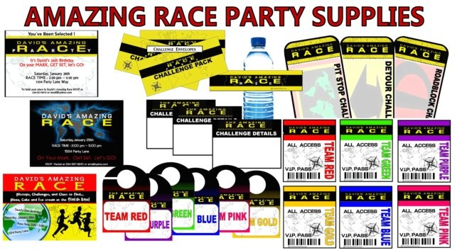 Amazing race party supplies and invitations party decor for Amazing race birthday party templates