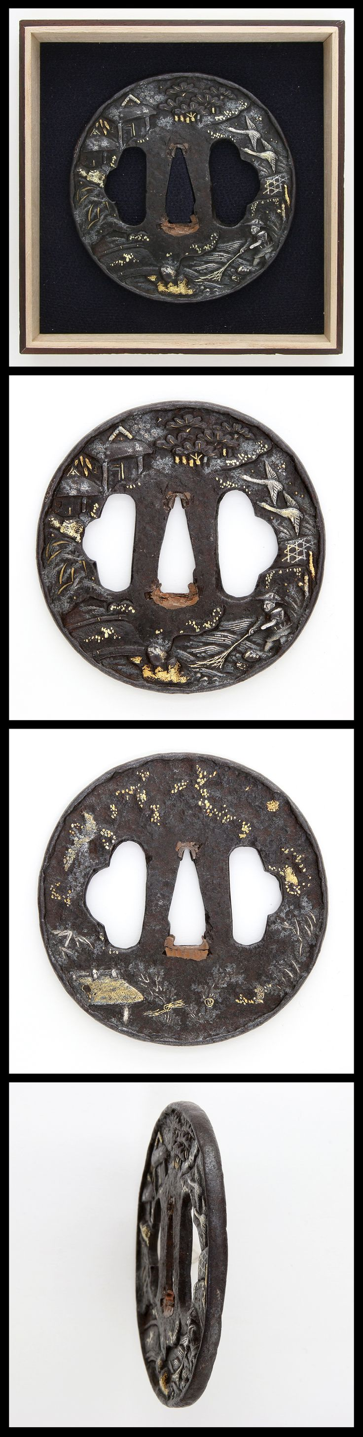 Edo Round shape iron Sukidasi Takabori gold and silver inlaid Tsuba with Sukidashi rim and huge hole for Hitu on both sides.