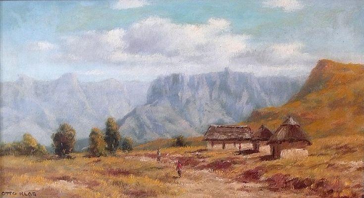 Otto Klar - Mountainous Landscape - Oil on board, Size : 310 x 560mm