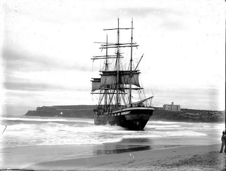 The French three masted barque,Vincennes which ran aground in May/June 1906 at Manly,Northern Beaches of Sydney.Photo from Australian National Maritime Museum.A♥W