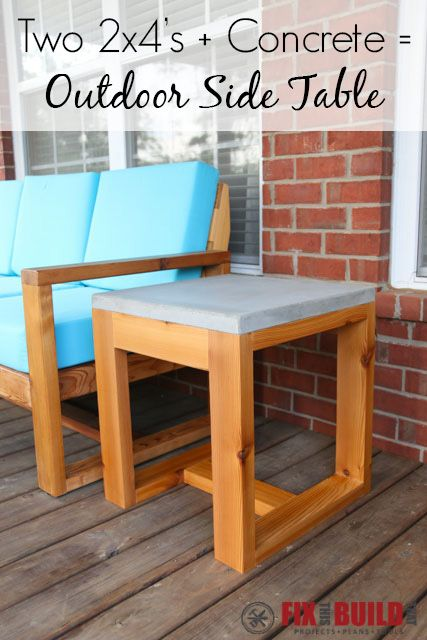 Build this DIY Outdoor Side Table with a concrete top from just two 2x4's and a bag of concrete!  Plans and full video tutorial inside.