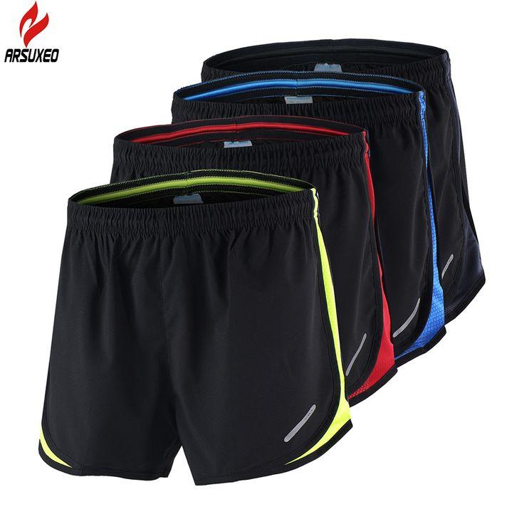 2 in 1 Arsuxeo Musim Panas pria Lari Maraton Celana Pendek Hitam Cepat Kering Pelatihan Crossfit Kebugaran Menjalankan Olahraga Celana Pendek Ditambah ukuran