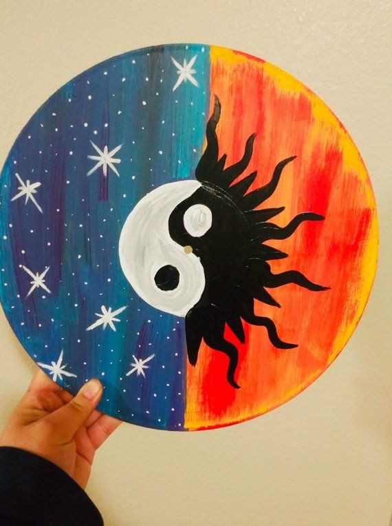 Trippy Art Painted Vinyl Record Yin And Yang Sun And