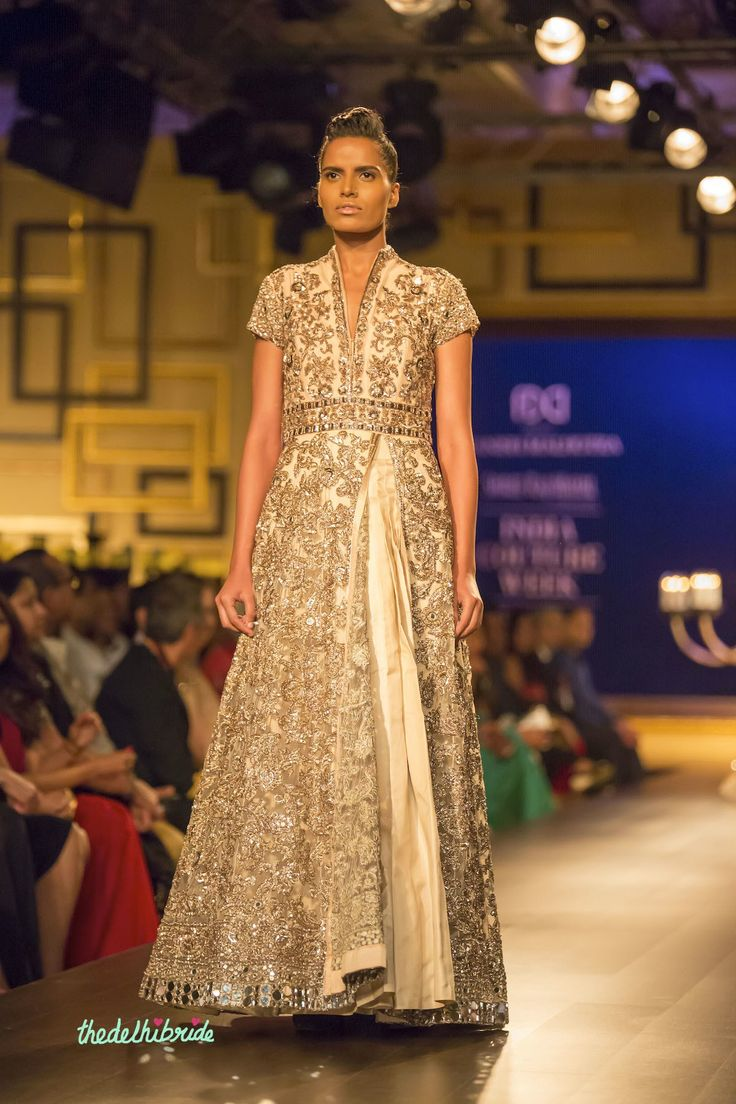 Ivory silver anarkali front Manish Malhotra India Couture Week 2014