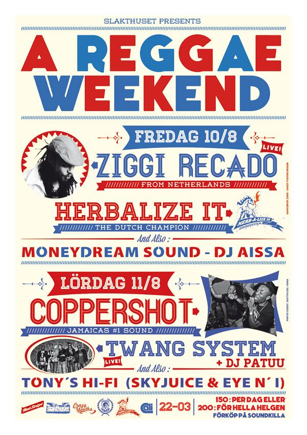 This is a fresh and vintage poster for a Reggae Festival in Stockholm (Sweden)
