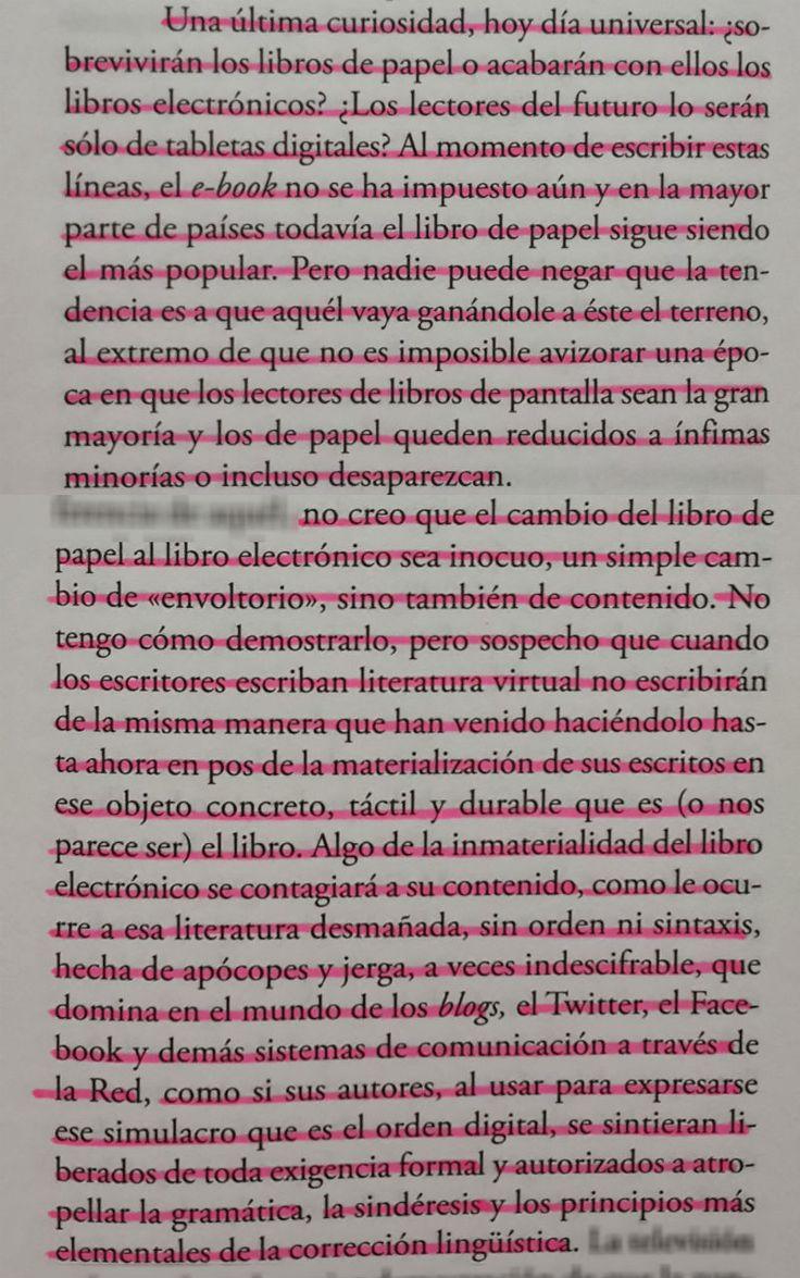 Libros De Papel Vs Ebooks (mario Vargas Llosa