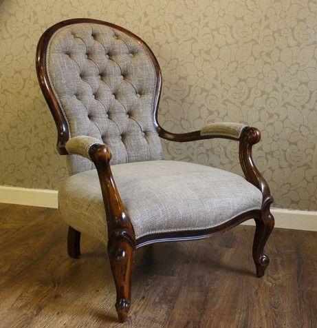 Re-upholstered Spoon Back Chair in Linwood Linen