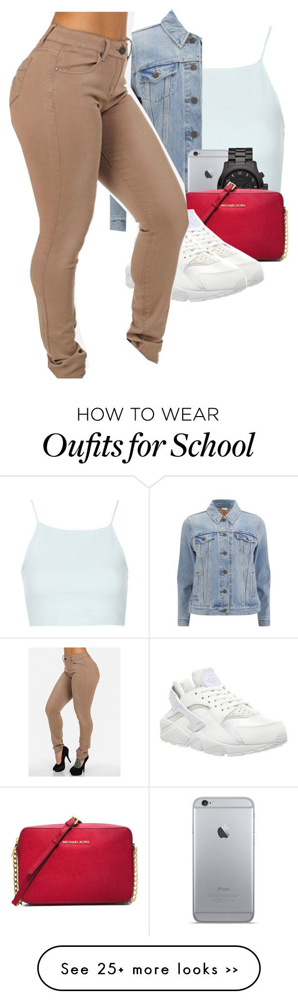 """School flow"" by ajdabaddest on Polyvore featuring Topshop, Levi's, Michael Kors, MICHAEL Michael Kors and NIKE"