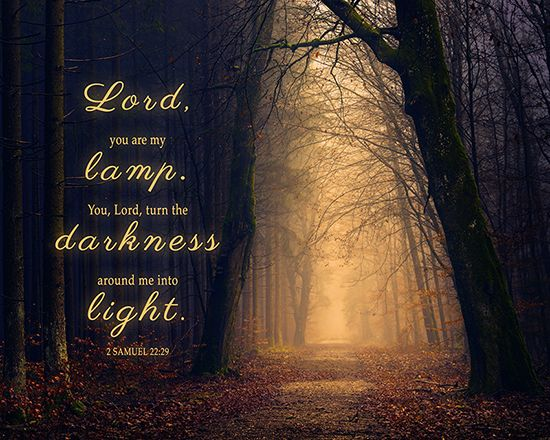 """Lord, you are my lamp. You, Lord, turn the darkness around me into light."" 2 Samuel 22:29   This Bible verse is available as 8X10 inch ready to frame wall art. Please click the picture for the link."