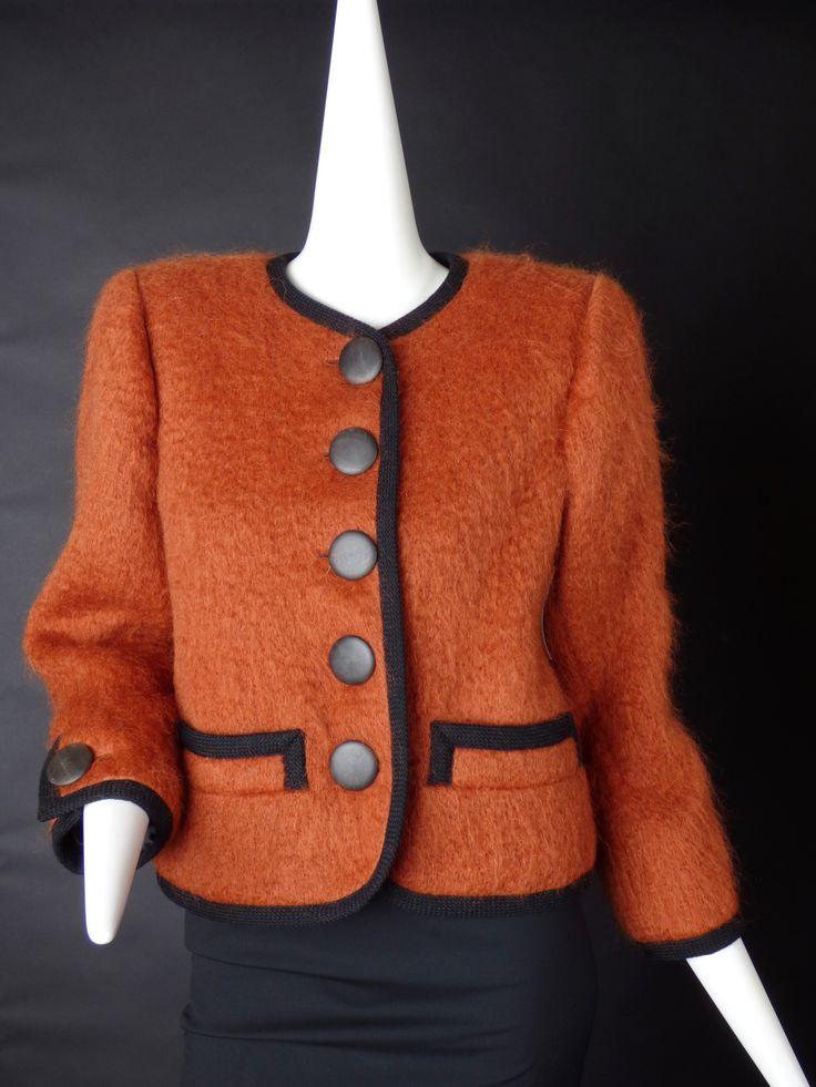 YVES SAINT LAURENT-1980s Orange Mohair Suit Jacket, Size-8