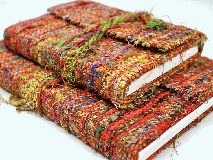 Recycled Vintage Sari Silk Journals - you can also use out-of-date interior fabric books from the decorators.