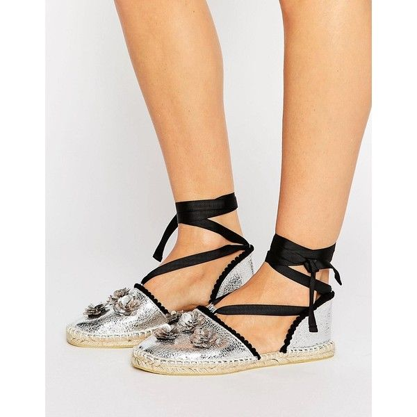 ASOS JAYCI Embellished Espadrilles (110 ILS) ❤ liked on Polyvore featuring shoes, sandals, silver, metallic espadrilles, espadrille sandals, espadrilles shoes, braided sandals and floral espadrilles