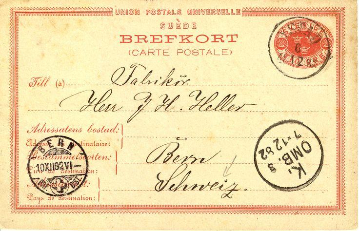 Brevkort till Bern, Schweiz via Malmö