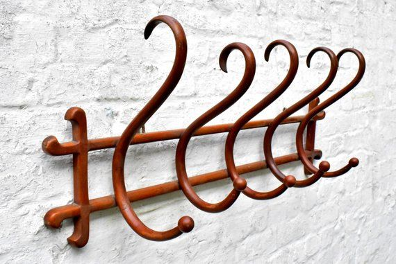 Antique Thonet Coat Rack Rustic Bentwood 5 Hooks Clothing Hanger Thonet Wall Mounted Hanging Clothes And Vintage Umbrella Stand Rustic Coat Rack Coat Rack