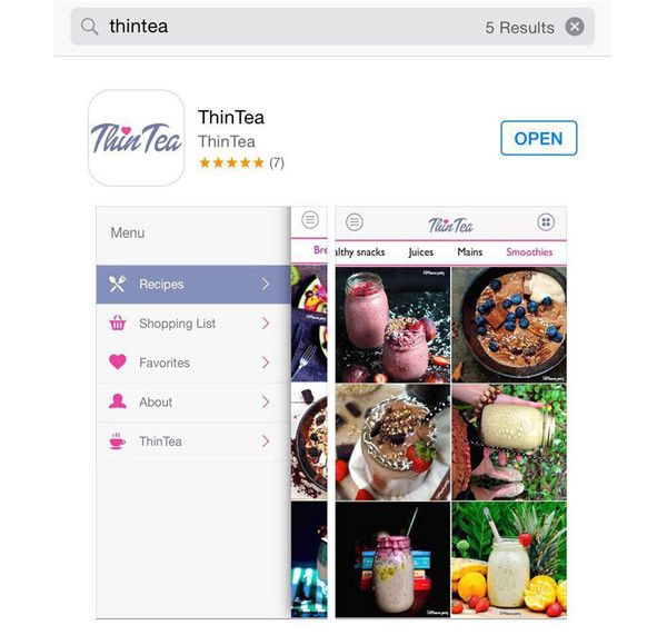 APP FEATURES: Shopping List (Allowing you to add ingredients from any recipe), Favourites Shortlist (Allowing you to save recipes, for future reference)              RECIPE CATERGORIES: Breakfasts, Healthy Snacks, Mains, Desserts, Juices,  Smoothies, Condiments