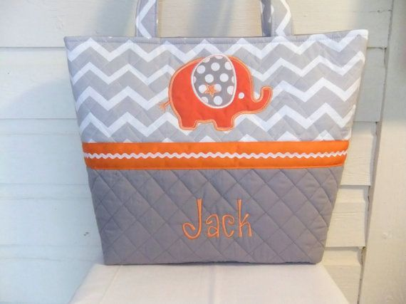 XL Quilted / Applique Chevron / Zig Zag Diaper Bag by MsSewItAll32, $55.00