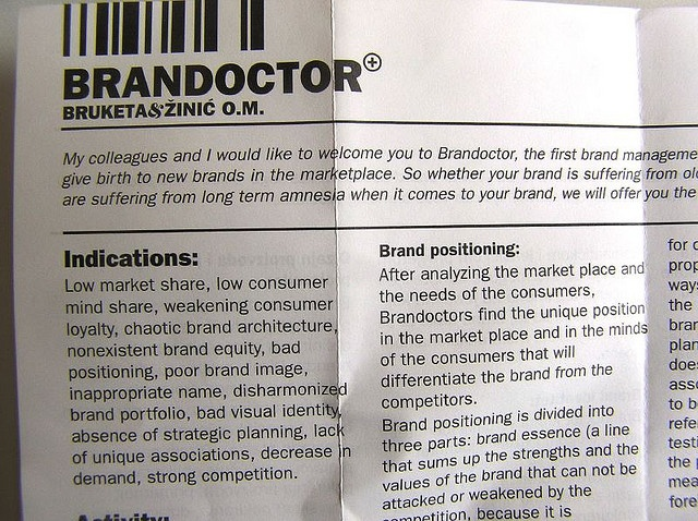 brand doctor instructions part of buisness card