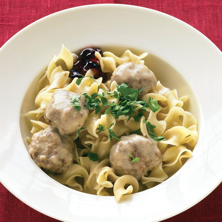 Made from a combination of beef and pork, these meatballs are a Scandinavian favorite that goes from appetizer to main in a flash (just add noodles). It's a tradition to serve them with sweet-tart lingonberry jam; if you can't find it, grape or red-currant jelly is a good substitute.