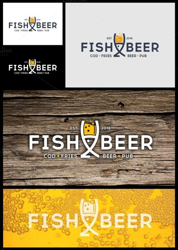 Fish and Beer Pub Logo by gabicotza on @creativemarket