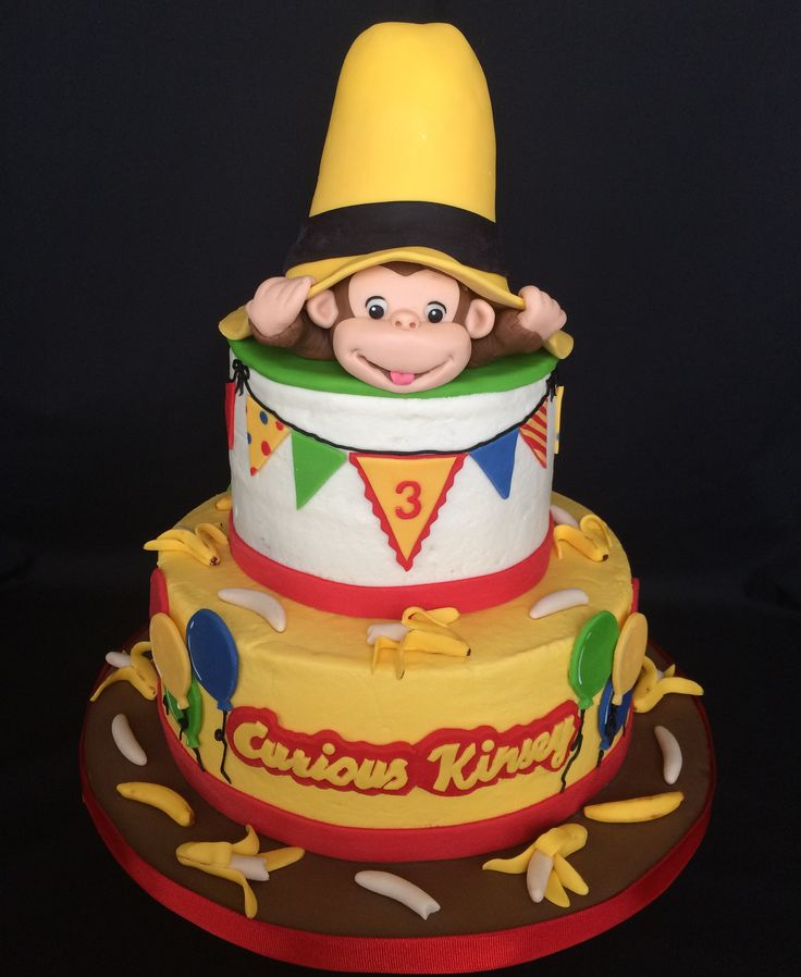 Curious George - Buttercream cake, fondant and gumpaste decorations. The hat base is RKT. This is the third cake I've made for this little girl.