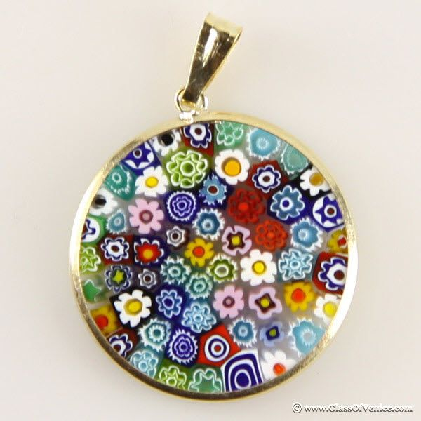 32 best millefiori images on pinterest glass paperweights murano medium millefiori pendant multicolor in gold plated frame aloadofball Images