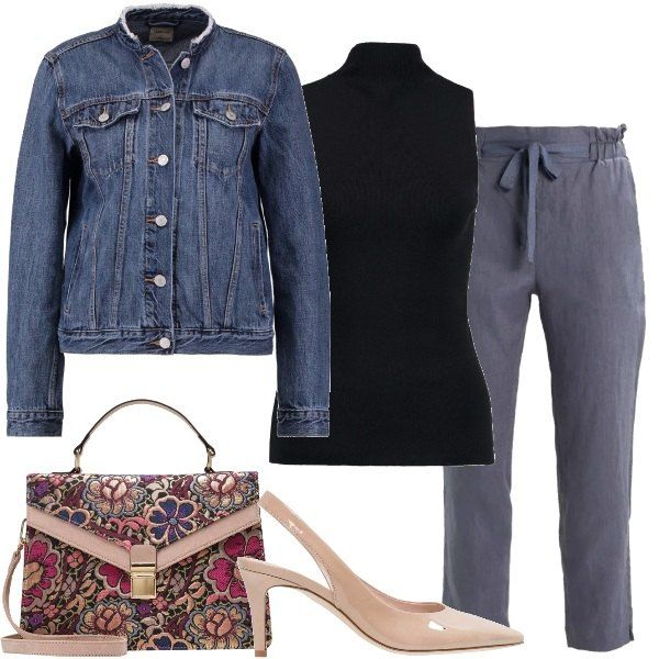 Un outfit pensato per una bella serata di fine estate in compagnia di amici. Il tutto composto da pantaloni 100% lino a vita alta abbinati a top, giacca di jeans, borsa a tracolla in tessuto e décolleté lucida.