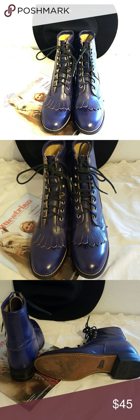 Pretty. In Purple.  Women's Justin Roper boots. Youth size 6 D. Fits like a woman's 8 M. Justin Boots Shoes Lace Up Boots