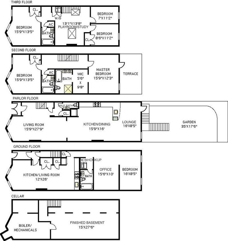 29 best townhouse floor plans images on pinterest floor for Brownstone townhouse plans