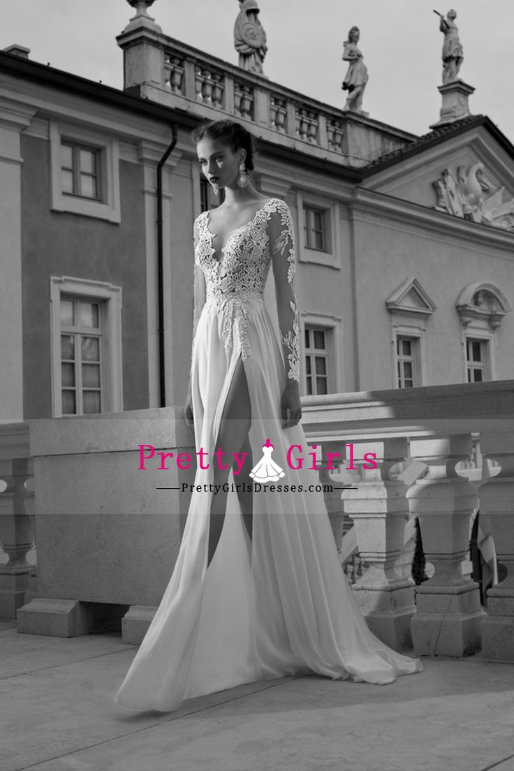 2015 Wedding Apparel A Line Full Sleeves Chiffon Zipper Up Back With Applique White
