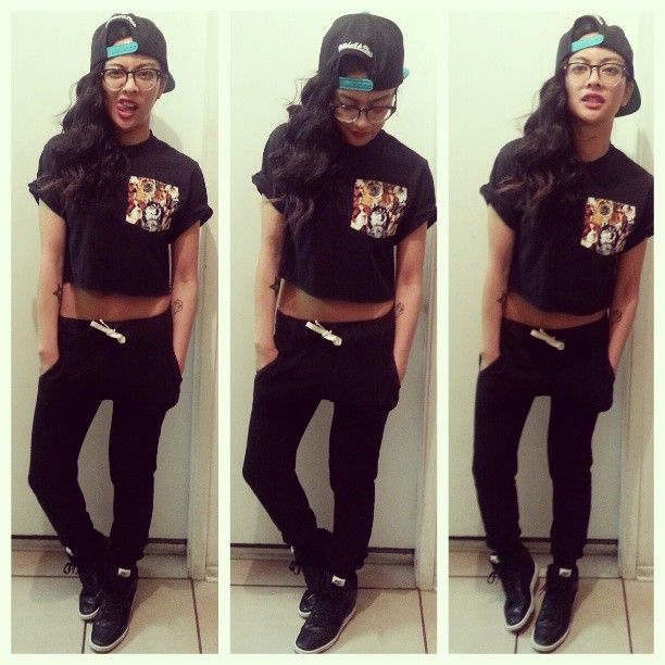 sweatpants sneakers snapback swag girl trill dope