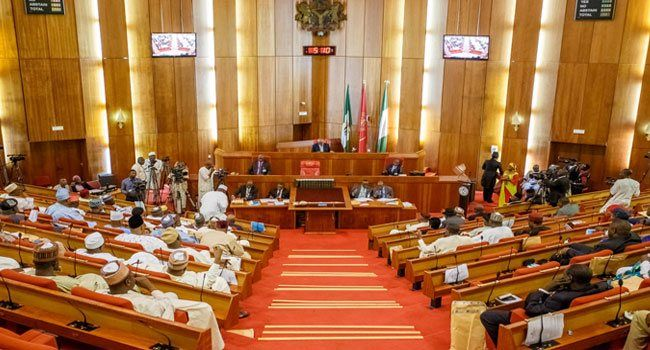 Senate Passes MTEF Increases Oil Price Benchmark   In passing the MTEF today the Senate however increased the benchmark price of crude proposed by the Federal Government from 45 to 47 dollars per barrel.  Also the lawmakers approved 2.3 million barrels oil production per day an exchange rate of 305 naira to a dollar as well as N1.69 trillion new borrowing.  Breaking news