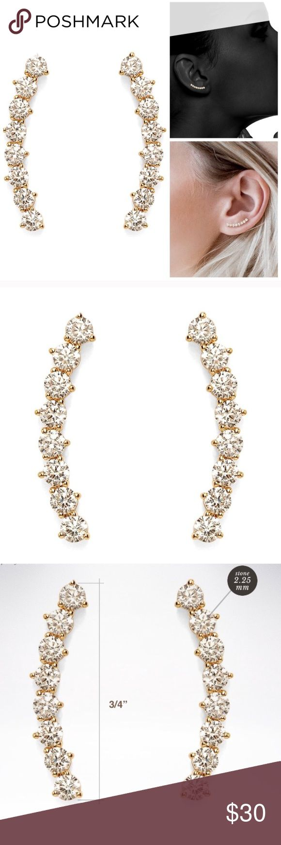 """Gold Diamond Ear Crawler Earrings Earrings are 19mm (3:4"""") in length Curved Stud Bar Earring climbers are crafted in 925 Sterling Silver then Gold Plated and Hypoallergenic  *Simulated Diamond (NOT real diamond) Jewelry Earrings #diamondjewelry"""